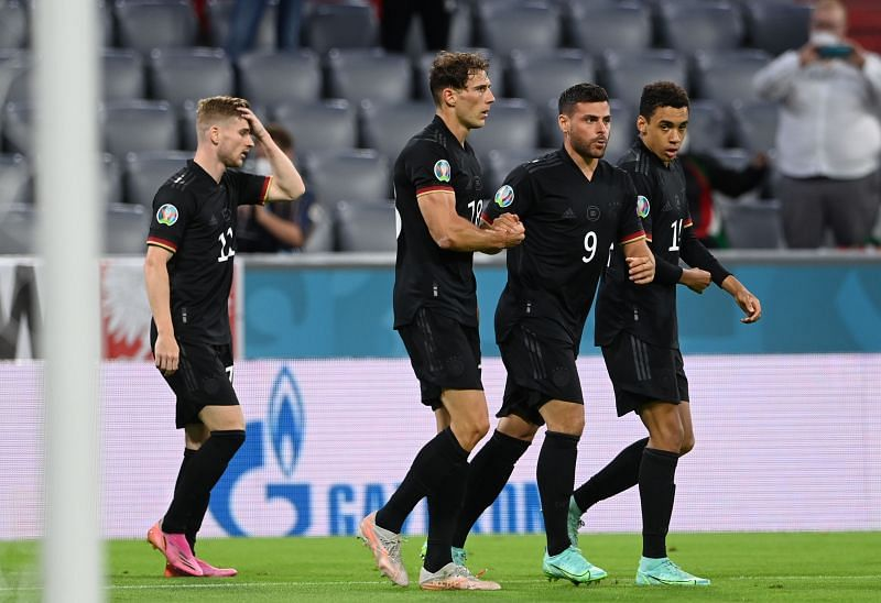Leon Goretzka (centre, #18) celebrates after scoring for Germany against Hungary