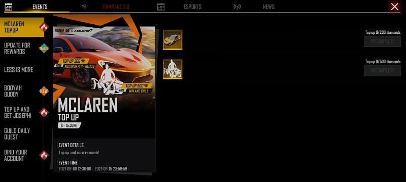 I giocatori possono andare alla sezione Eventi per controllare maggiori dettagli sull'evento