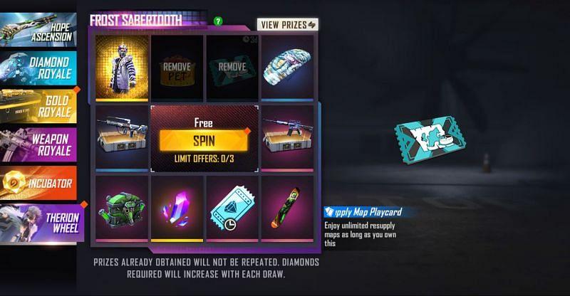 Users must make spins to draw rewards at random