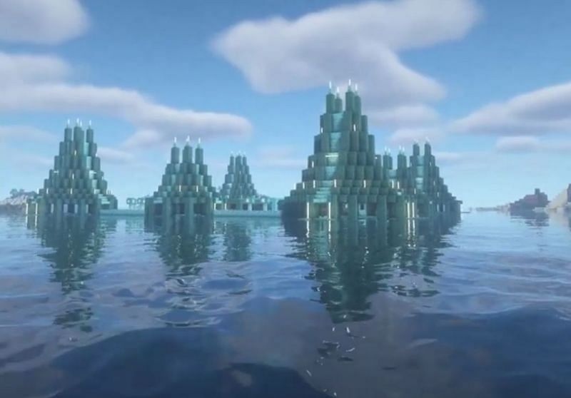 A shot of the outside of the prismarine farm (Image via u/Sad_Salamander1948 on Reddit)