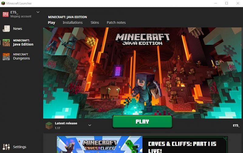 The Minecraft Java launcher should look like this