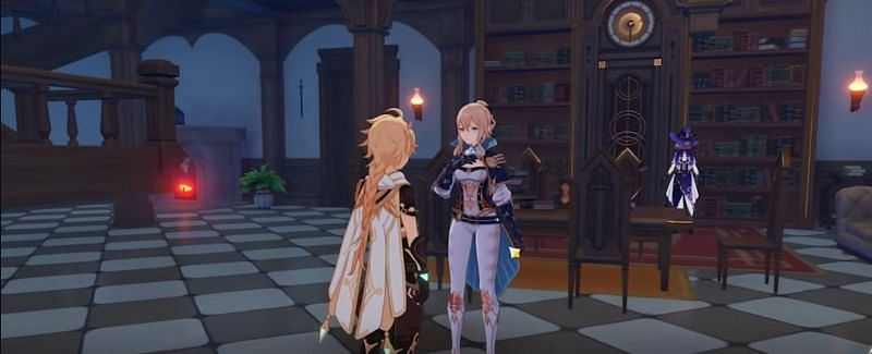A player talking to Jean Ani at their home (Lisa's background) (Image via Zeniet)