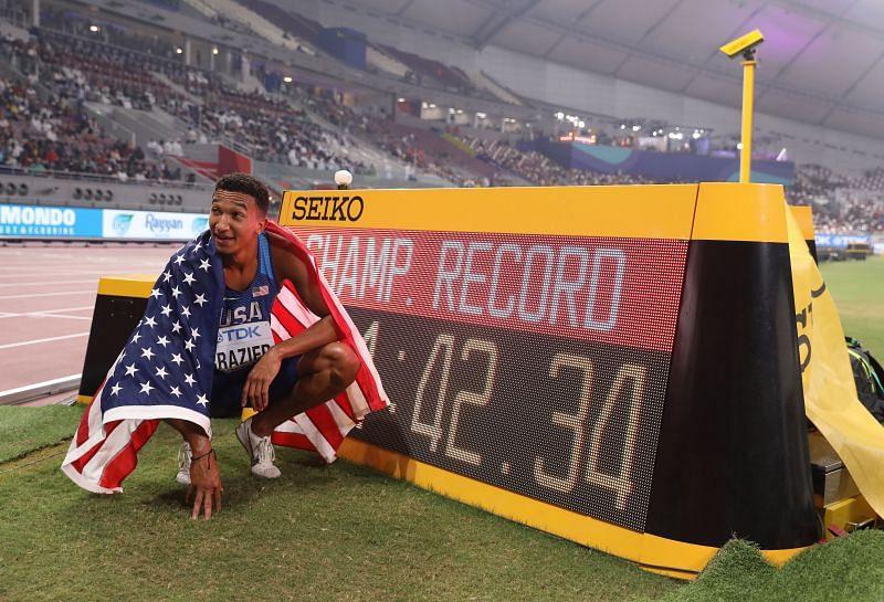 Donavan Brazier at the World Athletics Championships Doha 2019