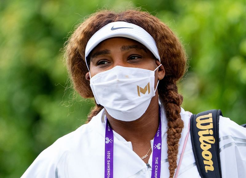 Serena Williams arrives for practice at Wimbledon