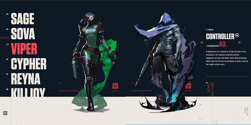 Viper and Omen, the Shakespearean Valorant love story (Image by Riot Games, screen-capped from playvalorant.com)