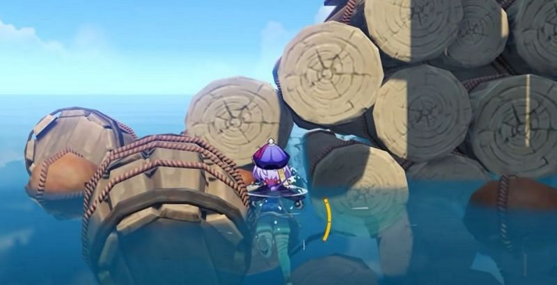 The place the player should position themselves to fall to the ocean floor (Image via ON Game)