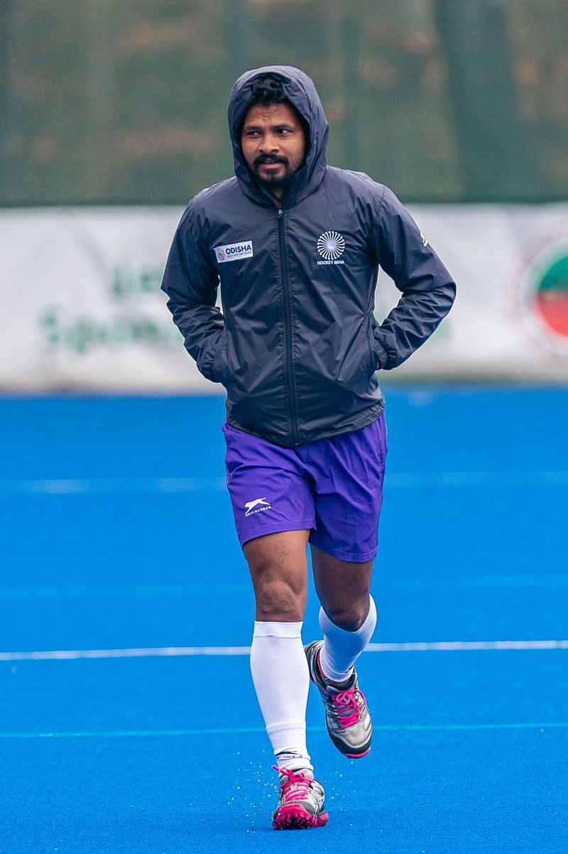 Birendra Lakra in a training session during India