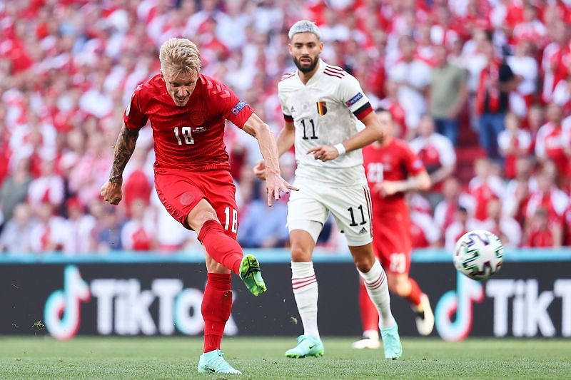 Denmark v Belgium - UEFA Euro 2020: Group B Pierre-Emile Hojbjerg acknowledges the crowd after Denmark