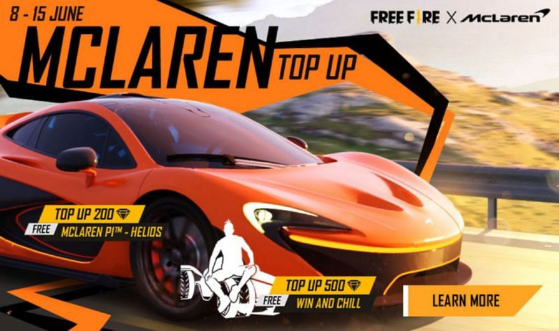 Players can now get exclusive McLaren car skin and legendary emote via top up event (Image via Free Fire)