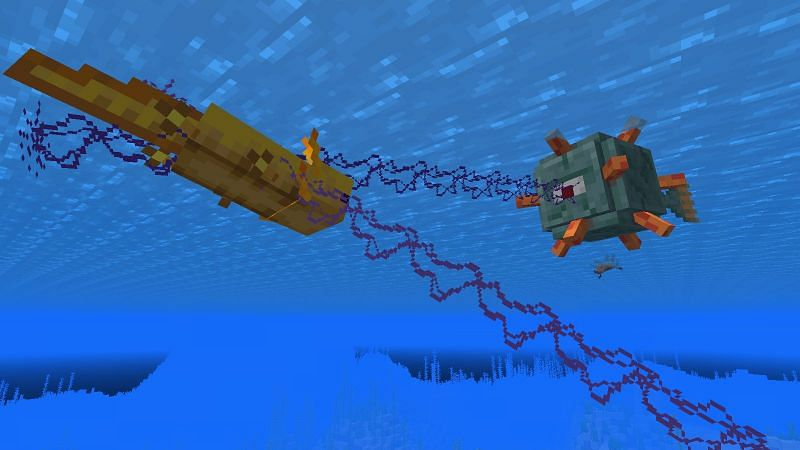 A Guardian and Axolotl Fighting (Image via Minecraft)