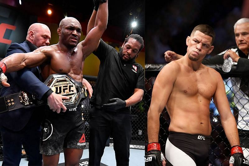 Nate Diaz (right) has taken a shot at Kamaru Usman for fighting Colby Covington again