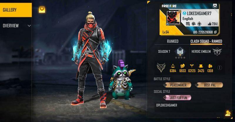 Lokesh Gamer's Free Fire ID is 220528068