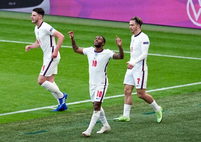 Raheem Sterling (centre) celebrates after scoring for England against Czech Republic in their Euro 2020 match