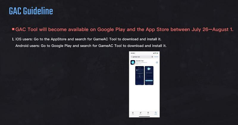 The GAC app will be used (Image via PUBG Mobile esports website)