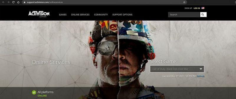 Activision Server Status for COD (Image via Activision)