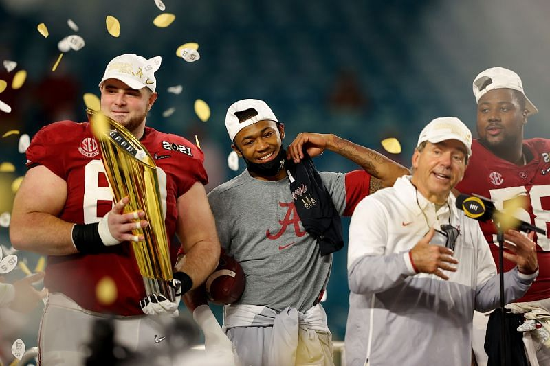 Alabama celebrating their National Championship victory over Ohio State
