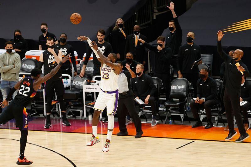 LeBron James #23 of the LA Lakers attempts a shot.
