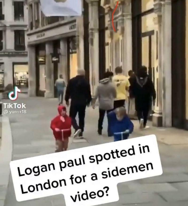 Logan Paul supuestamente fue visto en Inglaterra con los Sidemen (Imagen a través de TikTok)