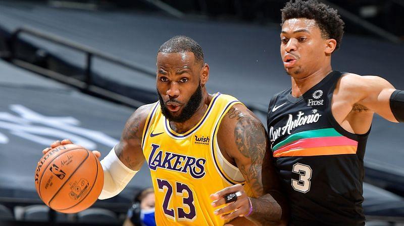LeBron James with the LA Lakers against San Antonio Spurs