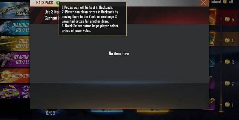 खिलाड़ियों को प्राप्त इनाम को बैकपैक में रखा जाता है