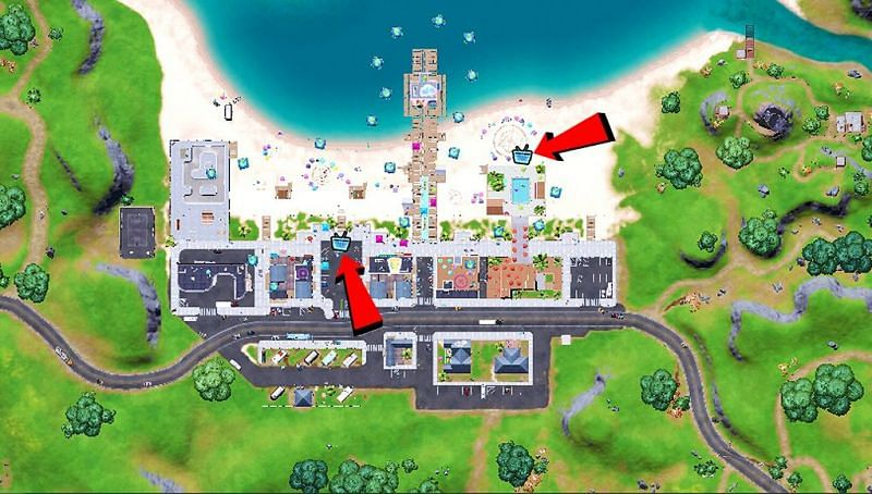 Location of Boomboxes in Believer Beach (Image via Fortnite INTEL)