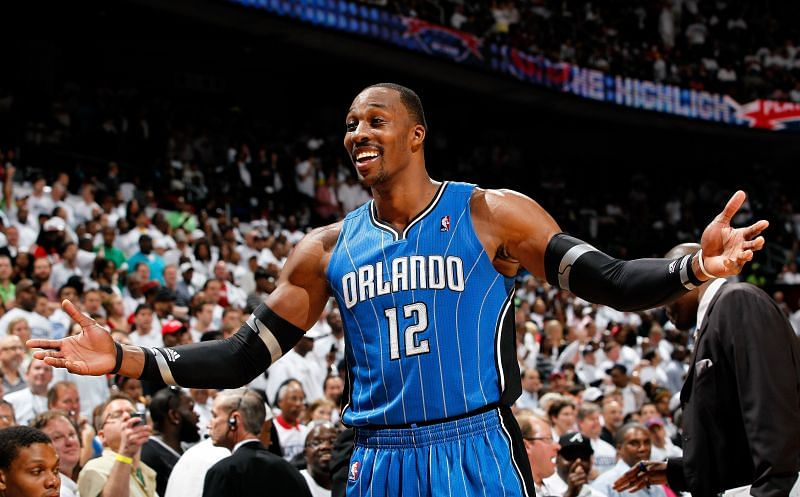 Dwight Howard #12 reacts after being called for a technical foul.