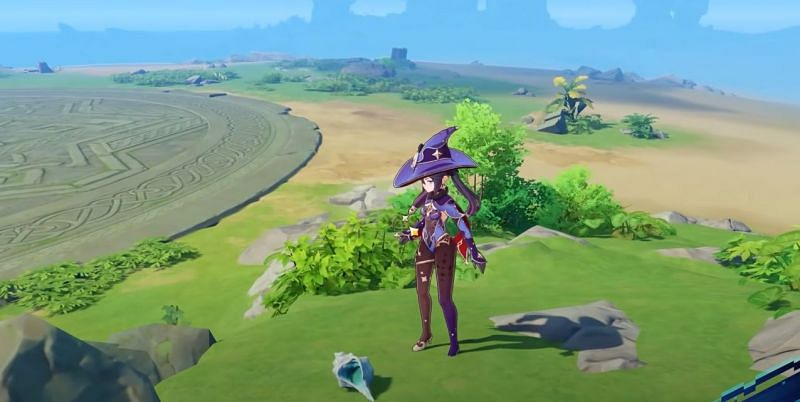Mona standing next to an Echoing Conch (Image via ON Game)