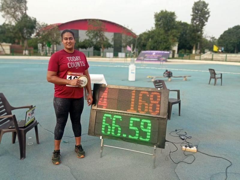 Kamalpreet Kaur set a new national record in Discus Throw