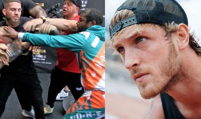 "The ""Gotcha Hat"" brawl (left); Logan Paul (right)"
