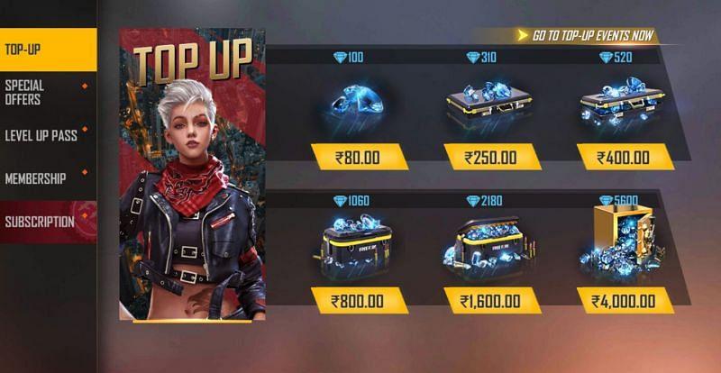 इन-गेम टॉप-अप सेंटर का उपयोग हीरे खरीदने के लिए किया जा सकता है (छवि फ्री फायर के माध्यम से)