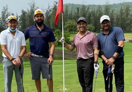 Former Indian cricketers Ajit Agarkar, Yuvraj Singh and Sachin Tendulkar reunited over gol