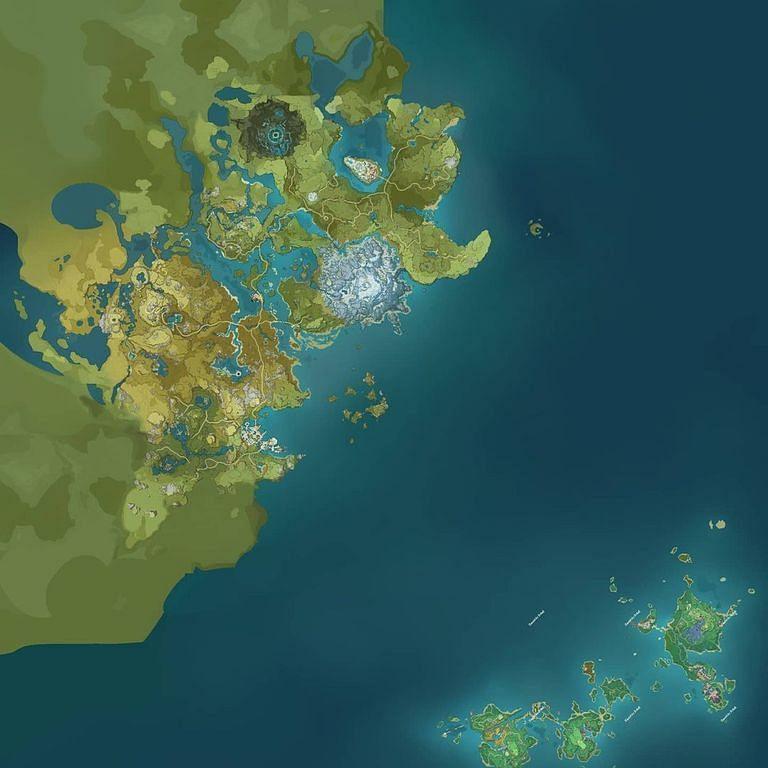 Inazuma on the world map for comparison's sake (Image via Genshin Impact Leaks Reddit)
