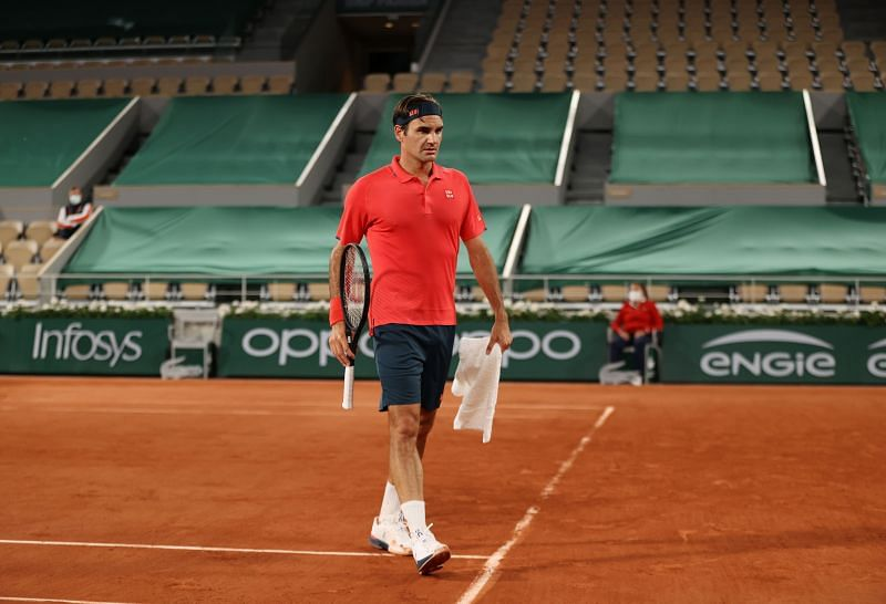 Roger Federer at the 2021 French Open