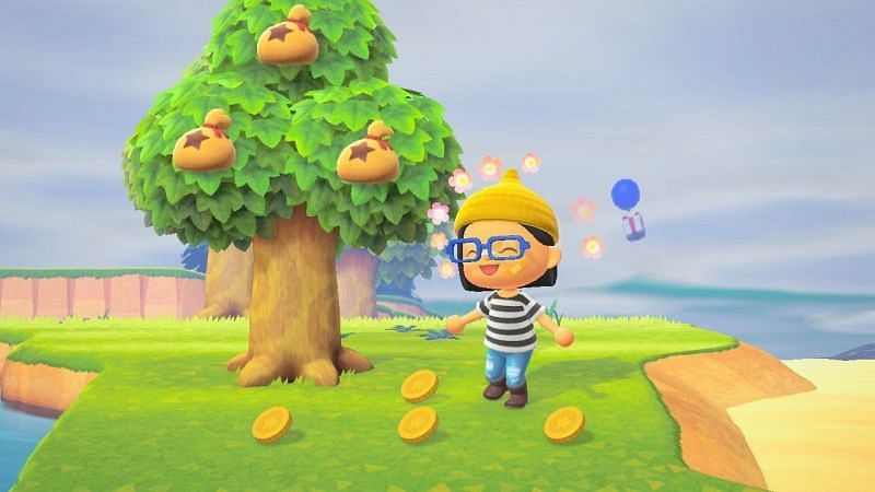 Reaping returns from a money tree in Animal Crossing: New Horizons (Image via IGN)