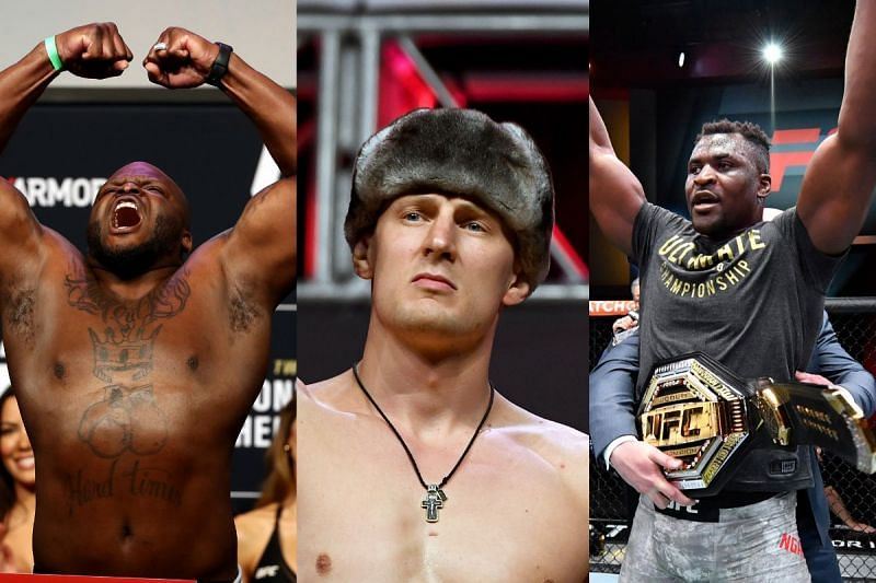 Alexander Volkov (Center) on why Derrick Lewis (Left) should not fight Francis Ngannou (Right) for the UFC heavyweight title