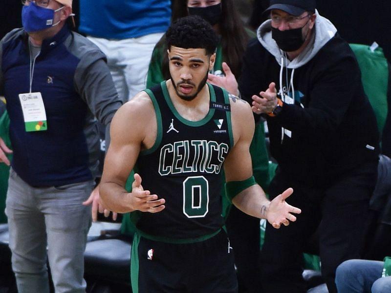 Jayson Tatum of the Boston Celtics against the Brooklyn Nets
