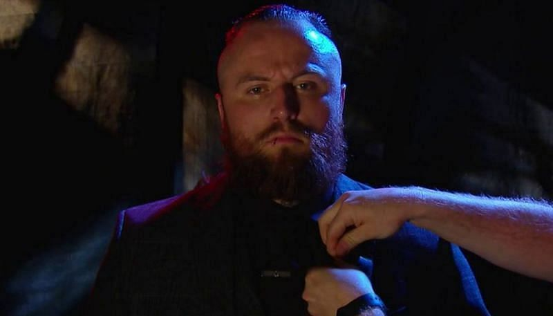 Aleister Black during one of his promos