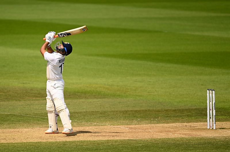 Rishabh Pant looks up after skying a shot during India