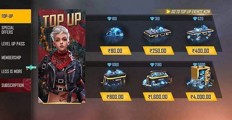 Top-up options in Free Fire