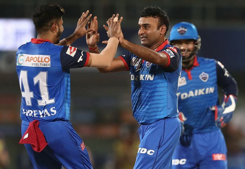 Amit Mishra and Shreyas Iyer in action during IPL 2019