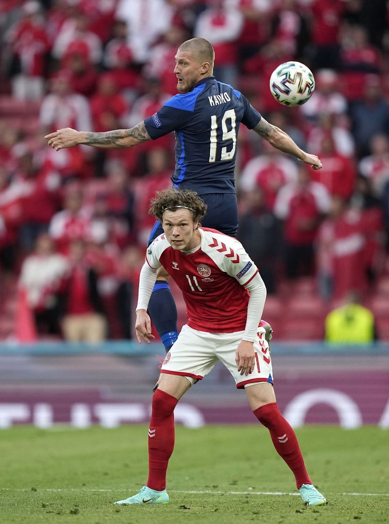 Joni Kauko in action for Finland against Denmark in EURO 2020 (Photo by Martin Meissner - Pool/Getty Images)