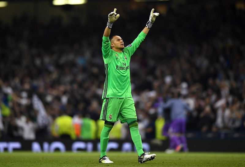 Keylor Navas celebrates a goal with Real Madrid in the UEFA Champions League Final.