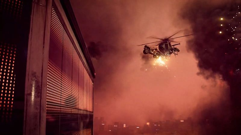 Player jumps off terrace with jeep to bring down helicopter (Image via Battlefield)