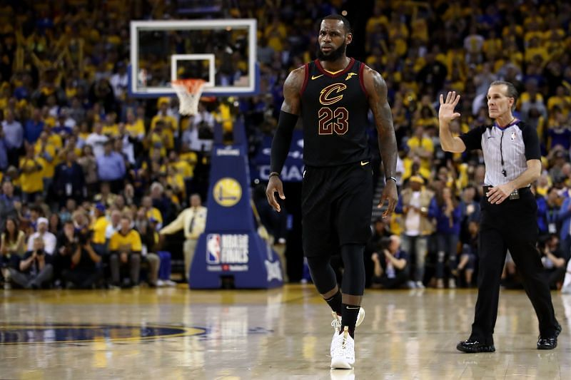 LeBron James with the Cleveland Cavaliers against the Golden State Warriors