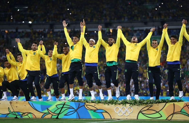 Brazil's national team celebrate their Olympics Gold medal