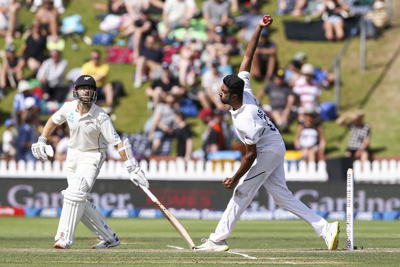 Ashwin in action against Tom Latham onthe tour of New Zealand.