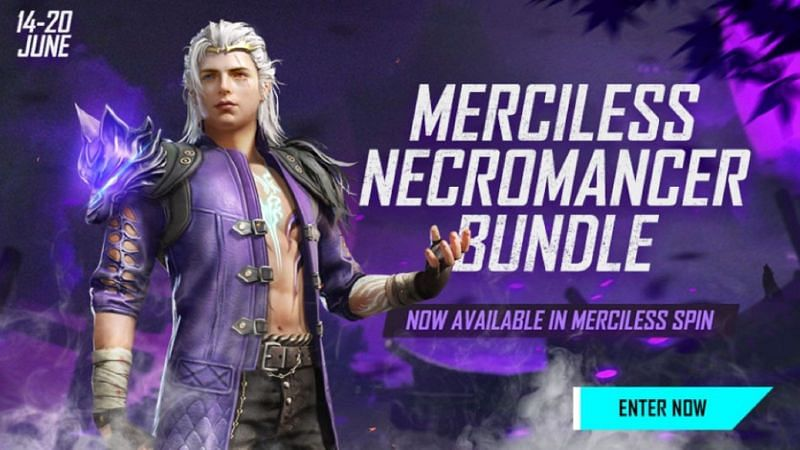 The Merciless Necromancer bundle is available in the Merciless Spin (Image via Free Fire)