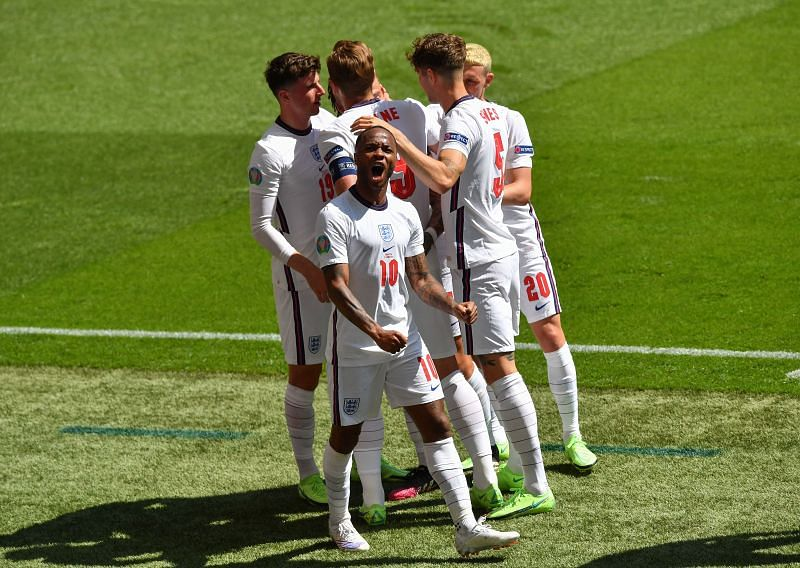 England's Raheem Sterling celebrates scoring the only goal of the game
