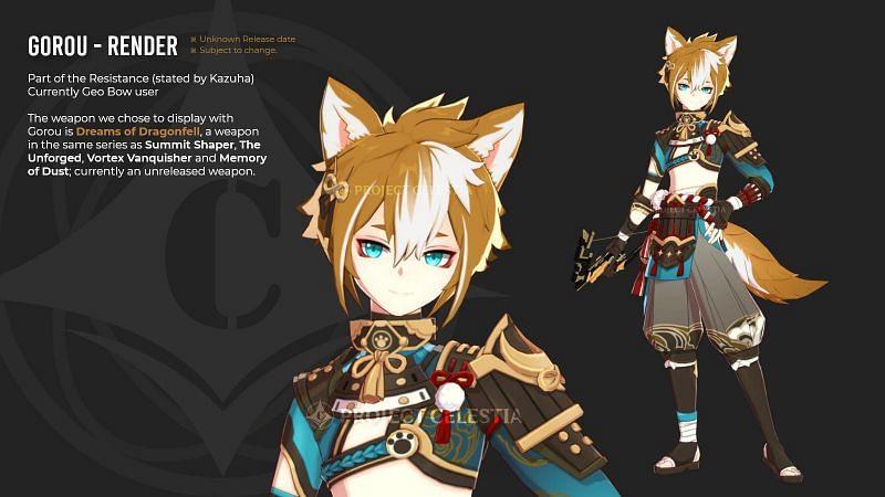 """Leaked Inazuma character, """"Gorou"""" (image via Project Celestia)"""