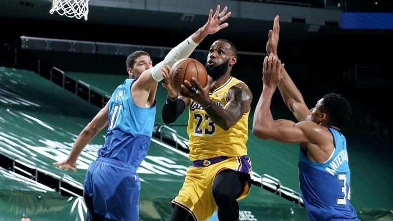 LeBron James with the LA Lakers against Milwaukee Bucks